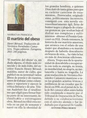 EL MARTIRIO DEL OBESO    (A.  PÉREZ MORTE)